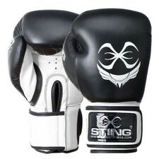 Premium Sting Titan Professional Leather Boxing Gloves |16 OZ | Black & White