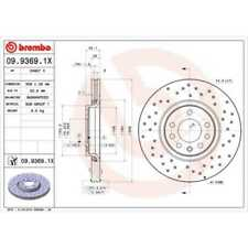 BREMBO 2x Bremsscheiben Gelocht/innenbel. beschichtet 09.9369.1X