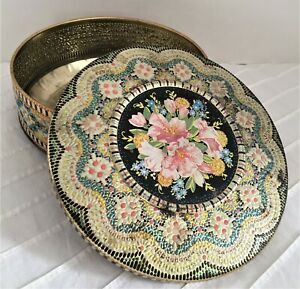 Vintage DAHER Candy Dish - Tin Canister Container Floral w/Lid & lots of Patina