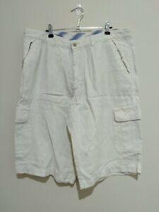 Cerruti 1881 Beige Linen Zip Pocket Cargo Men's Shorts Size 54 2XL 38