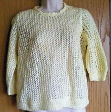 "Ladies knitwear jumper size 42"" vintage 1990s hand knit woollen cream sweater"