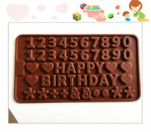 Happy Birthday Cake Silicone Mould Chocolate Fondant Jelly Ice Cube Mold