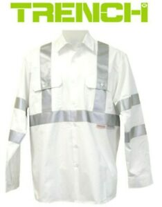 2 Pcs X Light Weight Cotton Work Shirt Long Sleeve With 3M Reflective Tape-White