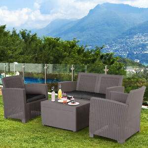 Outsunny Garden PP Rattan Sofa Table Set 4 Seater Conservatory Cushioned - Grey