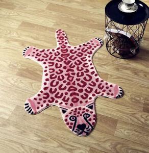 Leopard Non-slip Mat Cute Animal Print Area Rug Carpet Home Decor Pink 80x105cm