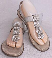 BORN BOC Women 8 Sandal Pewter Tan Thong Slingback Flower Leather Flat Flip Flop