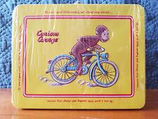New Curious George Monkey Collectible Embossed Bike Keepsake Tin Mini Lunch Box