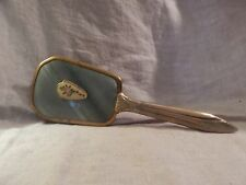 """Vintage Hairbrush Metal Blue Flower 10"""" Vanity"""