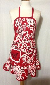 """WOMEN'S APRON 100% COTTON VINTAGE 1950s INSPIRED MONOGRAM (""""H"""") -ONE SIZE MOST"""