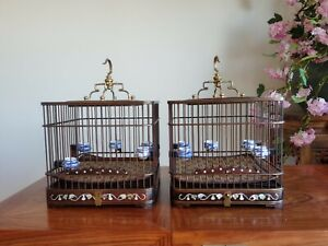Chinese style hardwood Pure copper hook Inlaid Abalone Shell Artistic bird cage