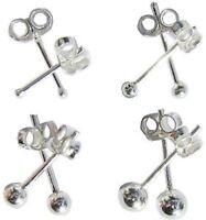 Small Sterling Silver Ball Stud Earrings pair 2mm 3mm 4mm 5mm Packs