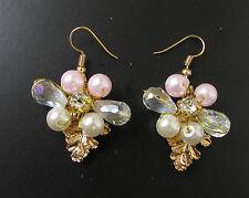 Gold Blush Pink White Pearl Vine Leaf Earrings Drop Grecian Bridal Bead Vtg 216