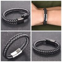 Men's Fashion Braided Leather Bracelet Bangle Stainless Steel Magnetic Jewelry