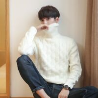 Mens Winter Turtleneck Sweater Jumper Knitting shirts Tops Knitwear Pullover New