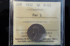 1932 Canada five 5 cents **ICCS F-15** Far 2 error / variety
