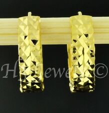 18k  solid yellow gold huggie hoop earring earrings diamond cut 2.40 grams #4320