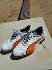 Puma Super Cell Fusion Ice Golf Shoes Spikes White Orange Mens 10.5