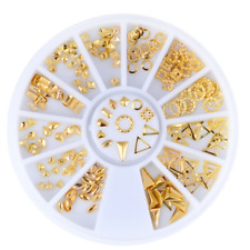 1Set Gold Rivets Triangle 3D Decal Nail Art Decor Stamping Manicure Stickers DIY