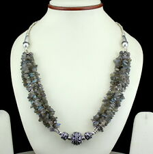 Necklace natural labradorite gemstone chips beaded handmade jewelry