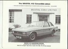 BRISTOL 412 CONVERTIBLE-SALOON SALES BROCHURE @ 1980