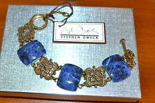 NWT $680 STEPHEN DWECK Granada Sodalite Engraved Bronze Bracelet Lapis Blue