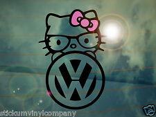 Vw Hello Kitty Auto calcomanía / etiqueta adhesiva * Dubs * Alemán * volkswagen * Vag * euro * Vdub * Nerd *
