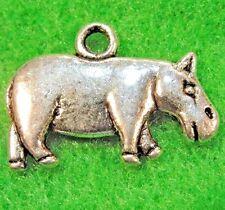 50Pcs. WHOLESALE Tibetan Silver HIPPO Hippopotamus Charms Pendants Drops Q0272