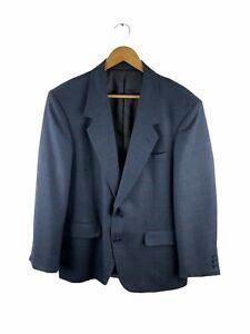 Giorgio Uomo Button Up Blazer Suit Jacket Men Size 38R Grey Blue Check 100% Wool