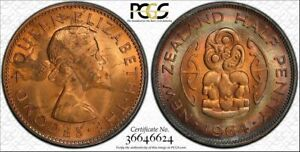 1964 NEW ZEALAND HALF PENNY PCGS MS63RB CIRCLE TONED COIN IN HIGH GRADE