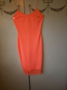 """River Island Size 10 Peach Dress Chest 32"""" In Excellent Condition Length 35"""""""