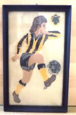 VHTF AEK ATHENS F.C. 1924 PLAYER'S HANDMADE EMBROIDERY IN WOODEN FRAME FROM 50's