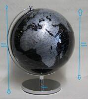 24cm Rotating World Globe Black & Silver on Metal Base with Silver Finish BNIB