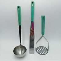 Flint Green Turquoise Kitchen Utensils Stainless Vanadium USA 1950s Vintage