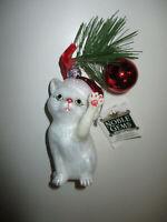 Kurt S. Adler Nobel Gems Christmas Ornament Glass Blown Cat Kitten at Play