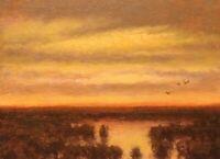 Twilight Wetlands Realism Landscape OIL PAINTING ART IMPRESSIONIST Original Ceow