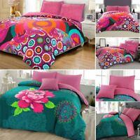 Soft Poly Cotton Rich Floral Bohemian Boho Hippie Style Duvet Cover Bedding Set