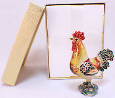 Rooster Farm Bird Animal Collectible Hinged Trinket Box With Bling #Jab3322
