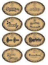 16 Christmas tan oval labels stickers scrap booking glossy laminated