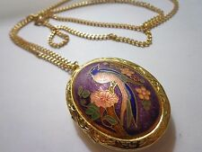 VINTAGE VICTORIAN REVIVAL CHINESE CLOISONNE LARGE 2 IN LOCKET 28 IN NECKLACE