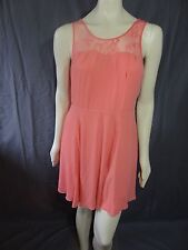 Express Mixed Media Lace Surplice Wrap Fit And Flare Dress size 4