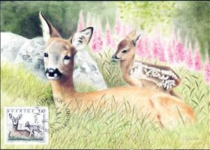 Baby Bambi Roe Deer and Kid Nordic Sweden Maxi FDC 1992