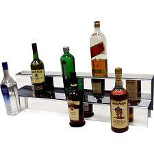 Liquor Bottle Shelf- 34-inch 2 Tier Mirror Finish - Bar Decor Display Shelving