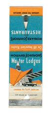 MOTOR LODGES HOWARD JOHNSON'S RESTAURANT MATCHBOX LABEL ANNI '50 CARS AMERICA
