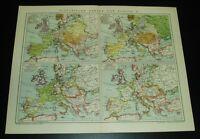 B14 innere Stadt Stadtplan Österreich Historische alte Stadtkarte 1898: Wien