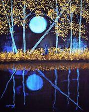 AUSTRALIAN CATTLE Dog Blue Heeler LARGE Folk Art PRINT Todd Young AUTUMN MOON