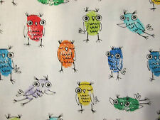 OWLS COLORFUL DRAWN OWL WHITE COTTON FABRIC FQ