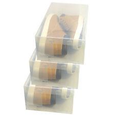 3x Cajas Almacenaje Zapatos PP435 Apilable Plegable Organizador Transparente
