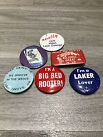 Lot of 6 Deadstock Vintage 60s 70s Fun Sports Football Button Pins Pinbacks USA