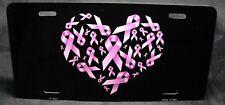 PINK RIBBONS METAL ALUMINUM CAR LICENSE PLATE TAG BREAST CANCER AWARENESS