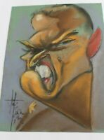 Signed Pastel On Paper Caricature Old Hollywood Gentleman Original Art Drawing